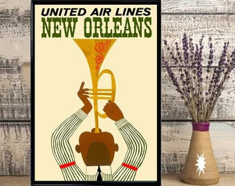 New Orleans Louisiana Jazz 2 Vintage United States Travel Advertisement Poster ,Wall Art ,Home Decor, No Frame
