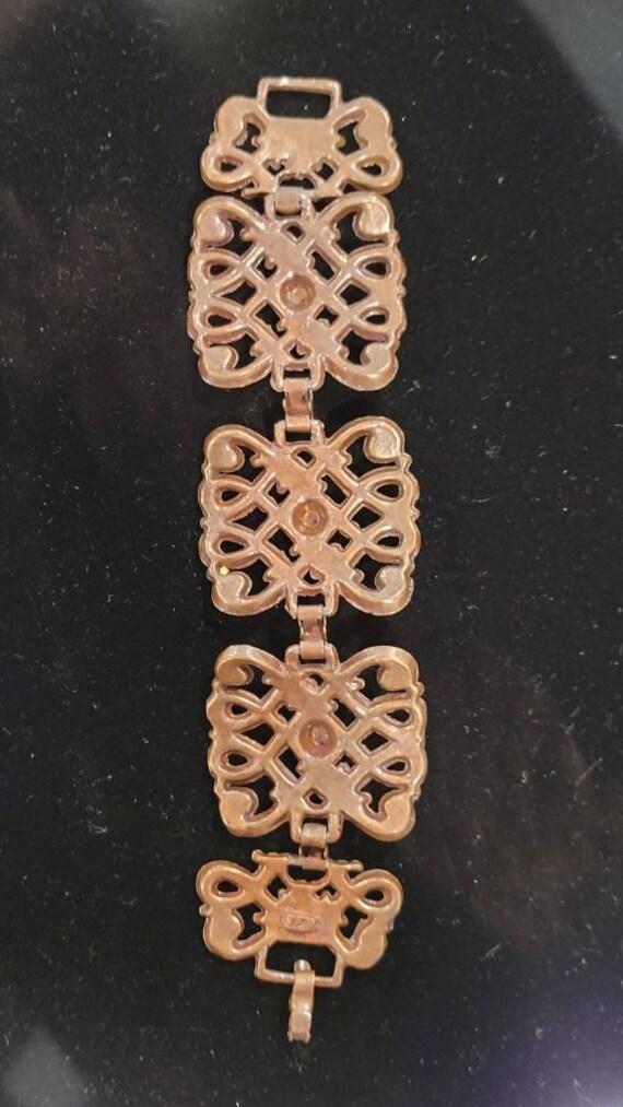Vintage Copper Art Nouveau Chunky Chain Link Brac… - image 9
