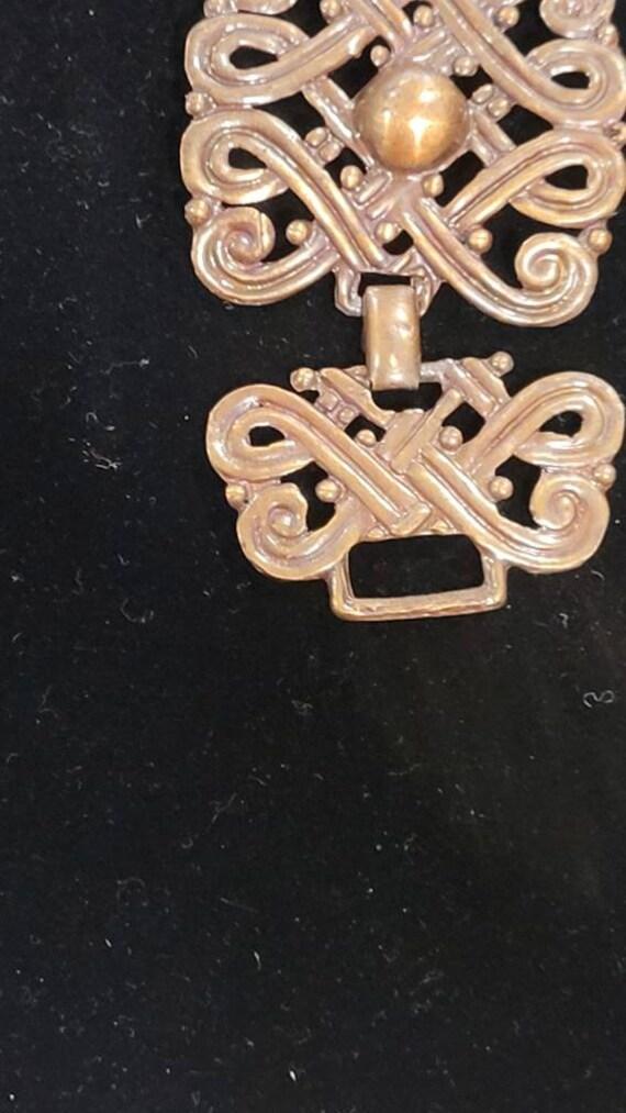 Vintage Copper Art Nouveau Chunky Chain Link Brac… - image 8