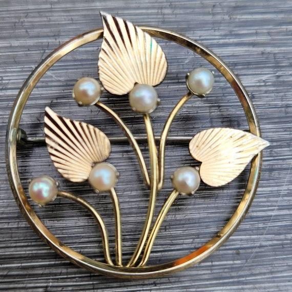 Vintage Krementz Pearl Brooch - image 2