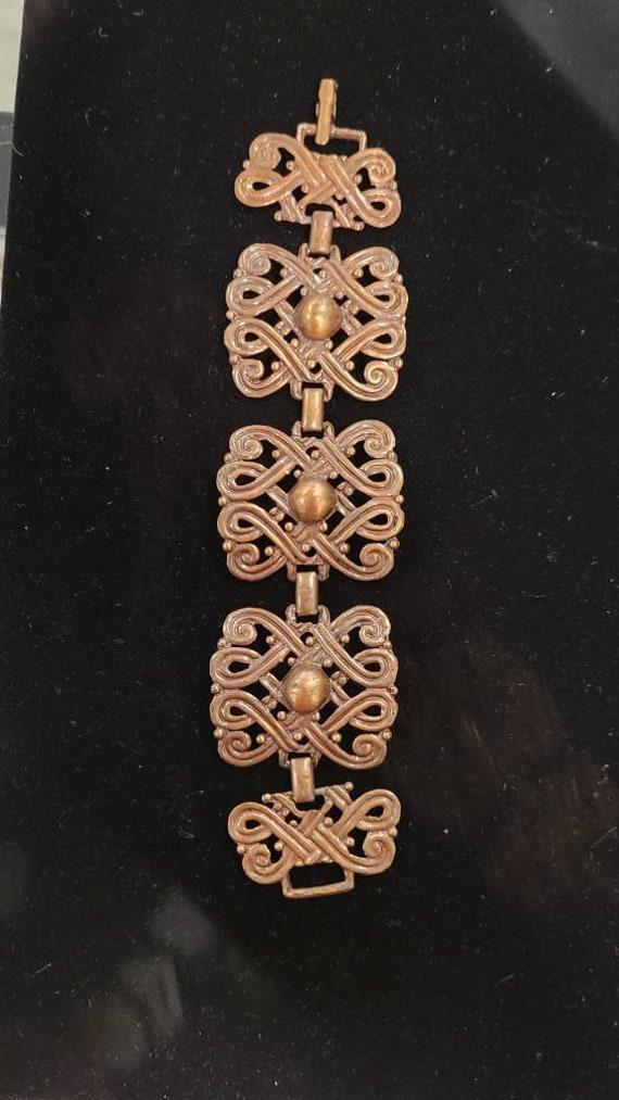 Vintage Copper Art Nouveau Chunky Chain Link Brac… - image 1