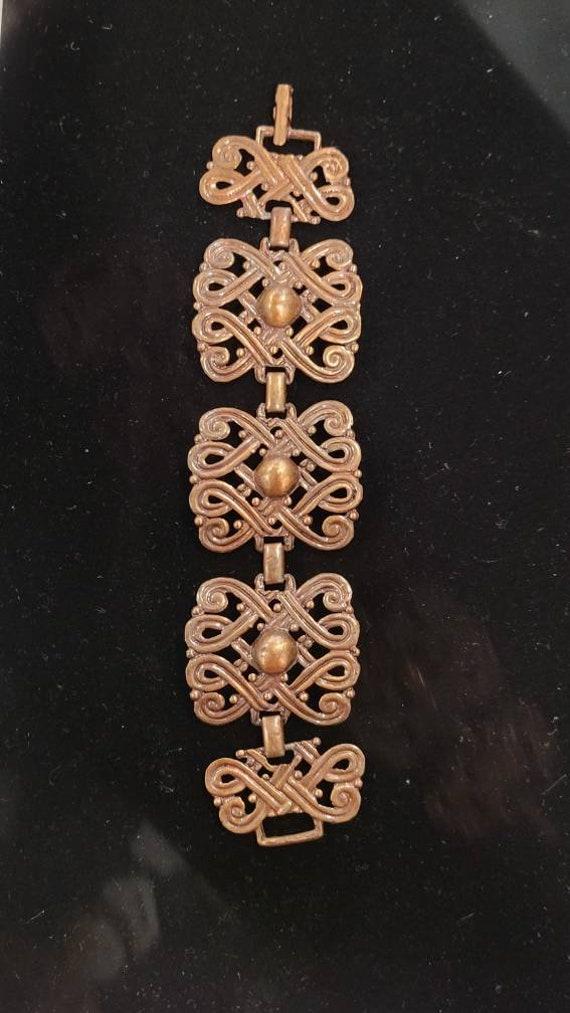 Vintage Copper Art Nouveau Chunky Chain Link Brac… - image 4