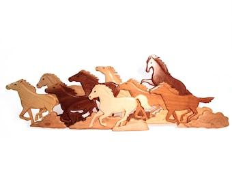 Western Wall Art, Horses - Handmade Wood Intarsia