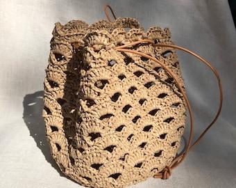 Handmade Raffia Bag, Crochet bag, French bag,underarm bag,Summer bag, shoulder bag, Boho bag, beach bag, leather strap handle bag,
