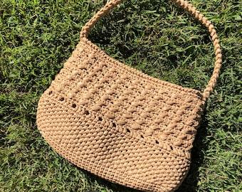 Handmade Raffia Bag, Crochet bag, French bag, French underarm bag, Raffia bag, Summer bag,shoulder bag, vintage bag, Boho bag