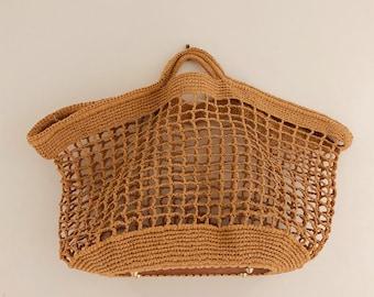 Handmade Raffia Bag, Crochet Bag, Summer Bag, Beach Bag, Hand made bag, Boho bag, Market bag, vintage bag, Tote bag
