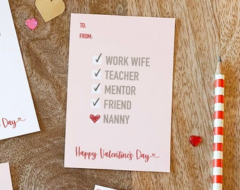 Checklist - Nanny Valentine's Day card printable