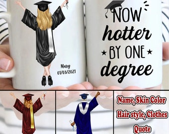 Now Hotter By One Degree college grad student gift Funny Graduation tumbler BS and AS Bachelors and Associates Gift Class of 2021 Gift