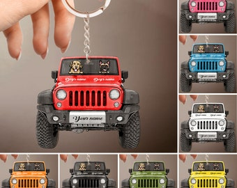 Personalized Jeep Dog Keychain, Jeep Car Driver Custom Keychain, Jeep Driver Gift, Jeep Accessories, Dog Lover Jeep Key Ring Jeep Owner Gift