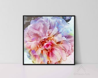 """Unique Floral Wall Giclee Art Print """"Excited Peony"""", Photography, Illustration, Digital pencil, Watercolours"""