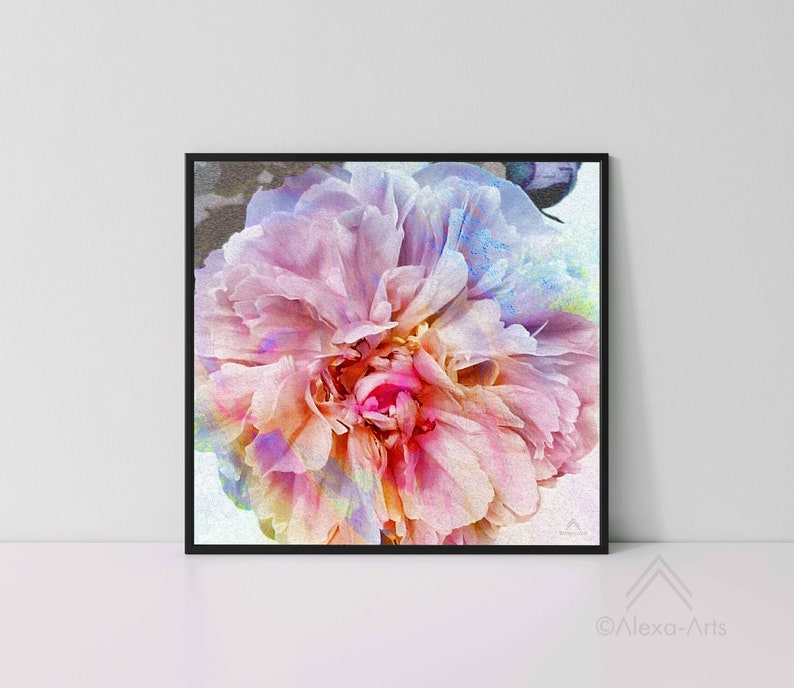 Unique Floral Wall Giclee Art Print Excited Peony image 0