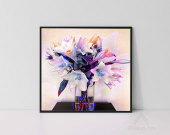"""Unique Floral Wall Giclee Art Print, """"White Lilies Spash-01"""", Limited edition of 80 Prints, Photography, Watercolours, Digital pencil"""