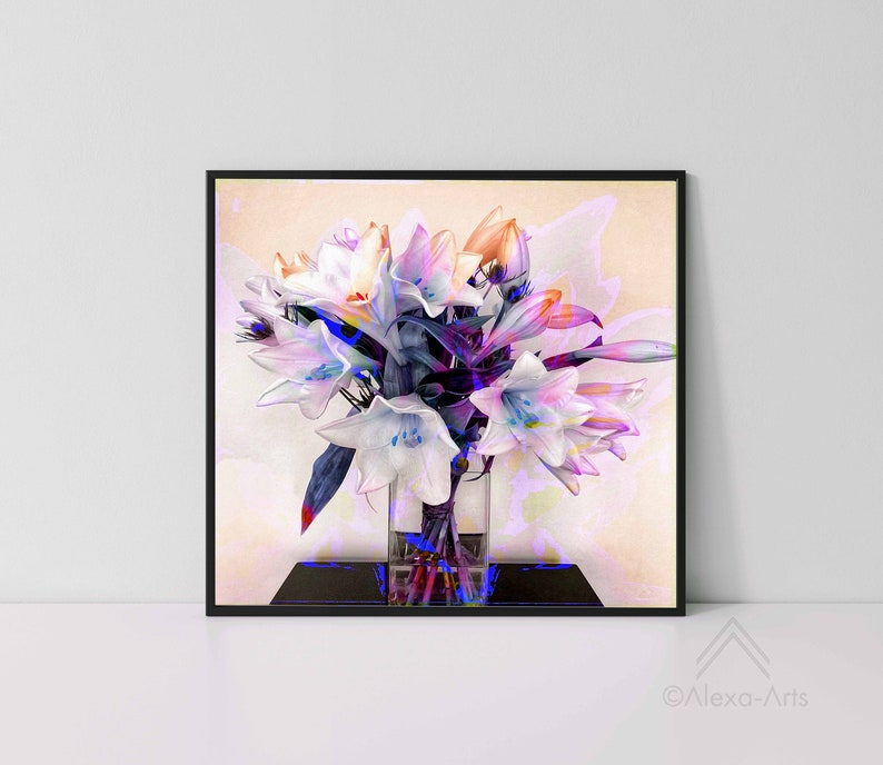 Unique Floral Wall Giclee Art Print White Lilies image 0