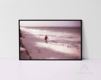 Zanzibar Tropical Shore Impression- She is Walking Alone, Unique Giclèe Art Print, Photography