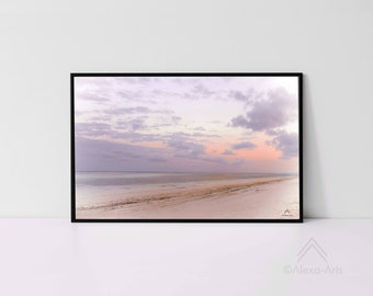 Zanzibar Tropical Shore Impression- Sunset, Unique Giclée Art Print, Photography, Digital Pencil