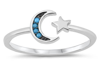 Moon toe ring • 925 sterling silver toe ring • turquoise toe ring • Adjustable Toe Ring • Solid Toe Ring •Little Finger Ring • Pinky Ring