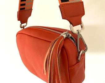 June Personalized Leather Handbag Leather Bag Shoulder Bag Leather Crossbody in Dark Orange
