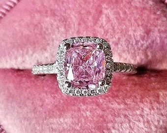 925 Sterling Silver Ring Handmade Ring For Woman valentines Astrological  Ring Natural Pink Sapphire Ring 4.0 Carat