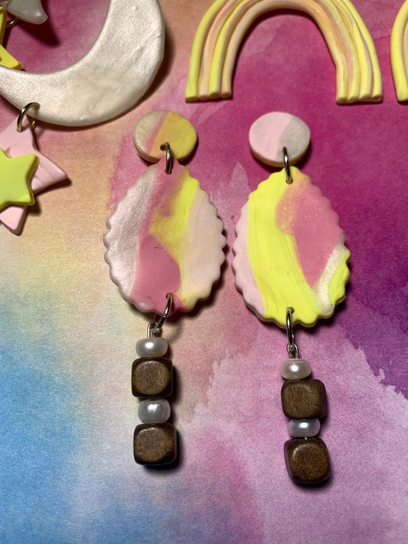 Polymer Clay Earrings pearl Disco lemonade