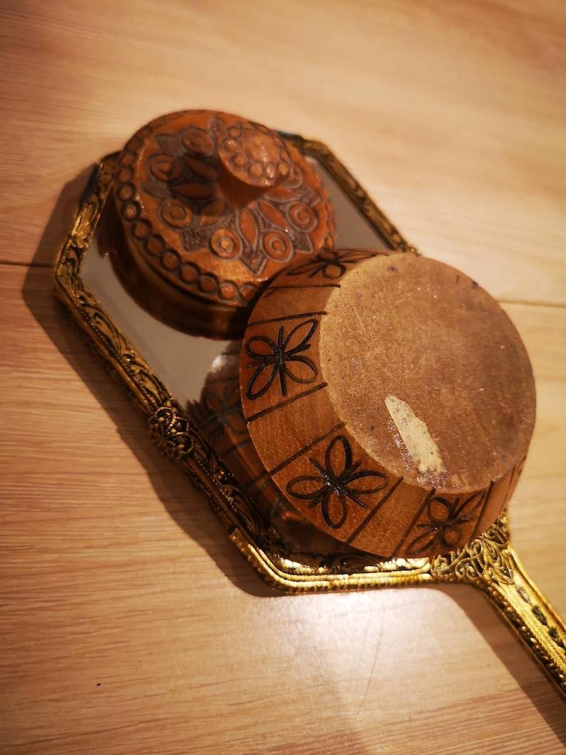 Vintage wood carved ornate trinket jewellery box
