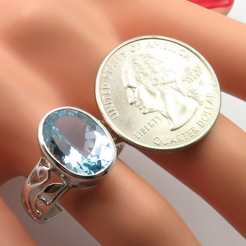 Authentic Gemstone Bijoux Gift for Her Blue Topaz RING Sz 9.75 Perfect Jewelry Eye-Catching Girls/' Jewelry Engagement Jewelry Collection