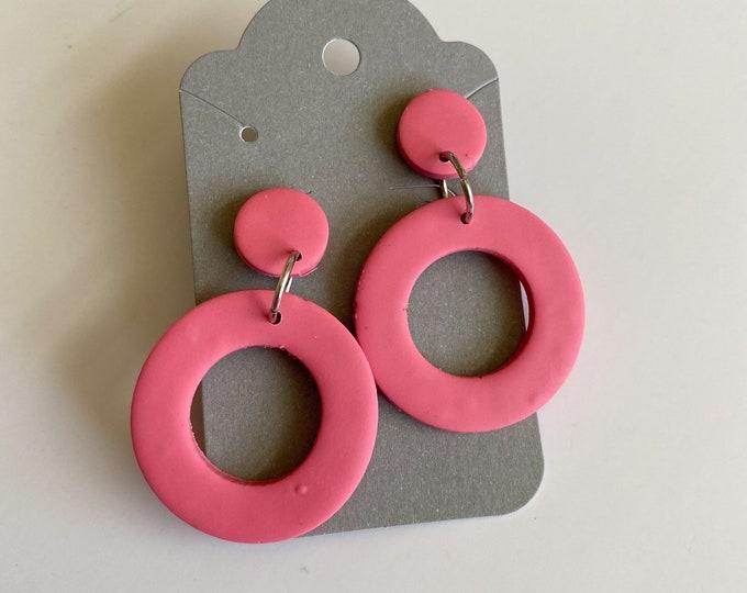 handmade polymer Clay earrings Pink hoops