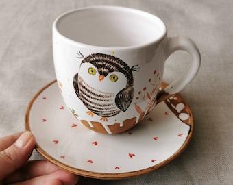 a cup with a cute owl, hand-drawn especially for you, Handmade Ceramic Mug, Owl Gift Pottery Mug, Osoka Art ,Art ceramic mug, Gift tea set