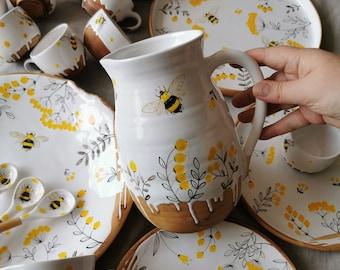 Serving ceramic jug with a bee, Handmade pottery jug, Tableware, Ceramic dinnerware, Rustic Pitcher , Ceramics Osoka Art, Decorative Pitcher