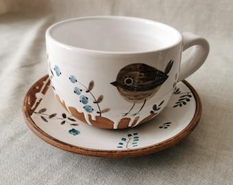 cup with a small bird, blue herbs, a mug, saucer and spoon, for herbal teas, Handmade pottery mug, Ceramic Osoka Art, Gif pottery mug teaset