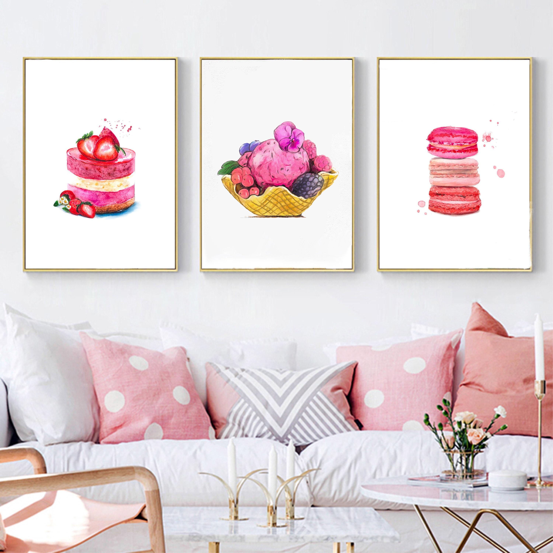Pink food digital print, 3 piece kitchen wall art set: macaroons print, ice cream printable, rew dessert.