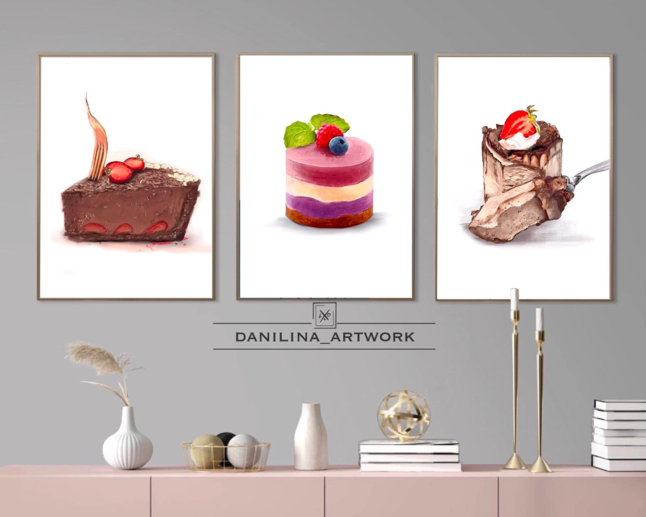 Watercolor Cake print set of 4 , sweet food art print, soul food wall art. Kitchen wall prints