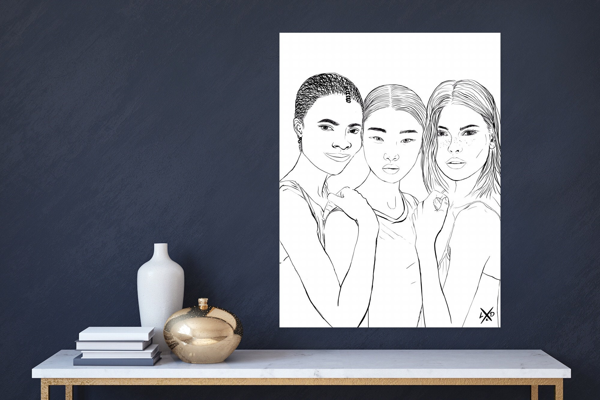 End racism print, Diversity Wall Art, woman faces line drawing, equality art. Digital download art.