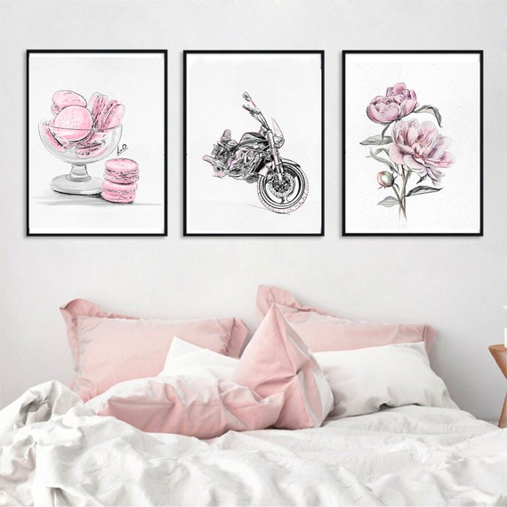 Blush pink gallery wall set of 5 prints. Glam wall art Macaroons,motorcycle print, peony art print, sketch woman face for teen girl room.
