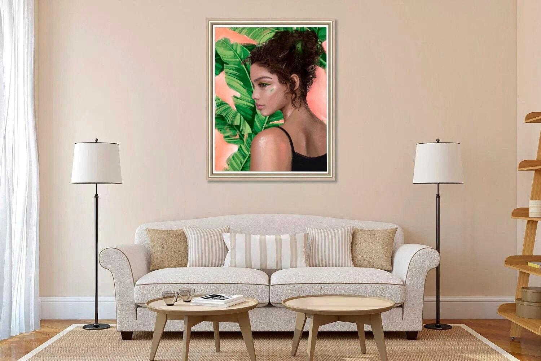 Black girl art print is tropical wall art. Black woman with palm tree digital print for girls room decor.