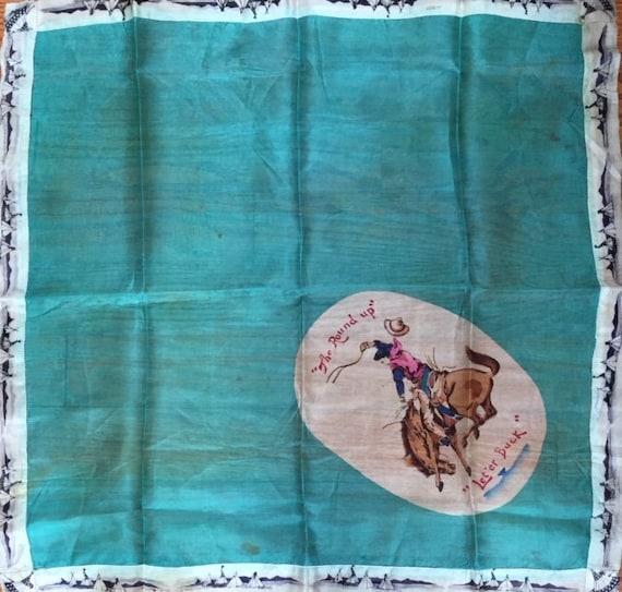 1920's Silk Scarf,  Pendleton Round Up  Souvenir … - image 1