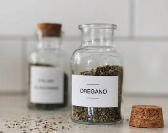 Minimalist Spice Labels | Pantry labels | Personalized | Water & Oil Resistant