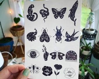 Mystical Celestial Animal and Flower Temporary Tattoos  | Festival Tattoos | Ethereal Tattoos | Fake Tattoos | Boho Gifts | Tattoo Sheet