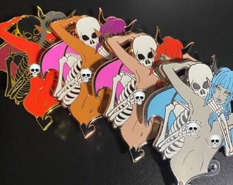 SuccuBone 2.5 Inch Spooky Glowing Skeleton Halloween Hard Enamel Pin