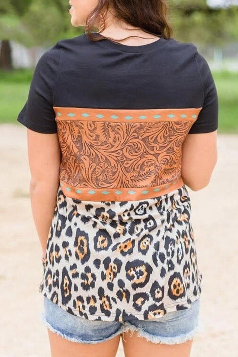 Black Leopard Print Buckstitch Splicing Color Block T-shirt