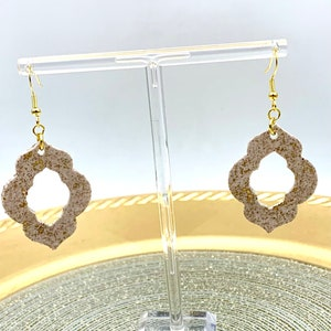 Cream and Gold LeafMoroccan ShapedPolymer Clay EarringGorgeousStunning