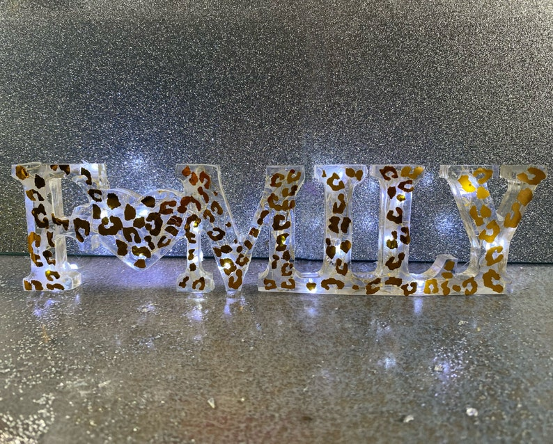 Personalised resin family sign with  optional lights