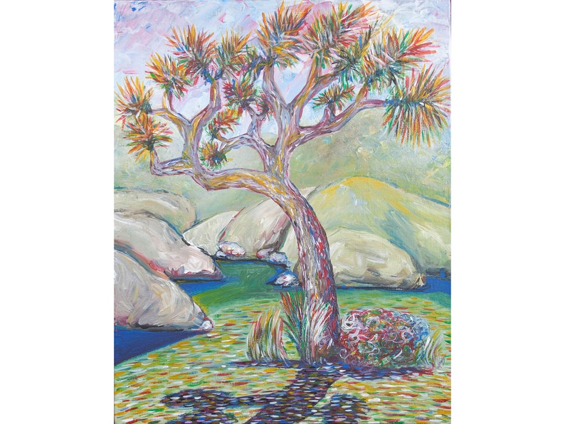 9.4  in Joshua tree painting Joshua tree artwork California landscape painting Original artwork Desert painting Impasto oil painting 11.8