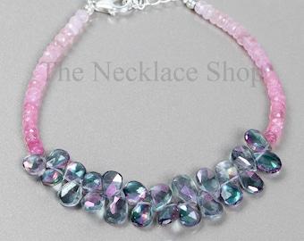 Mystic Topaz & Afghani Tourmaline Faceted Pear Rondelle Bracelet, Gemstone Beaded Bracelet,  Birthday Gift, Multi Stone Bracelet