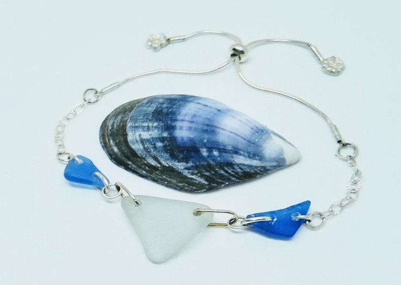 Silver sea glass bracelet with cobalt blue and sea foam sea image 0