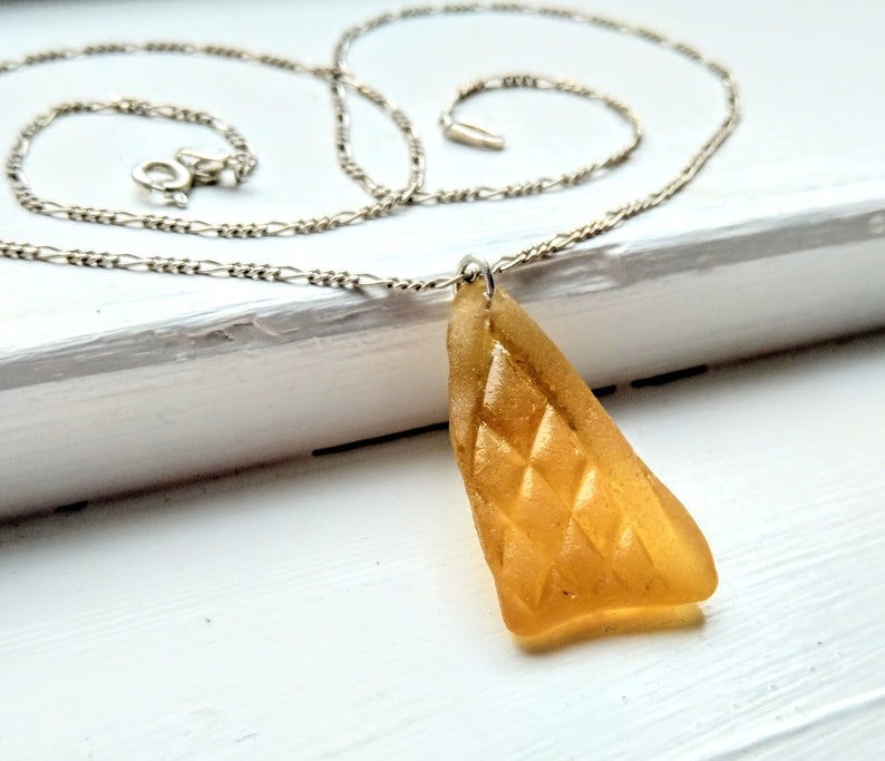 Golden amber yellow sea glass necklace / amber beach glass image 0