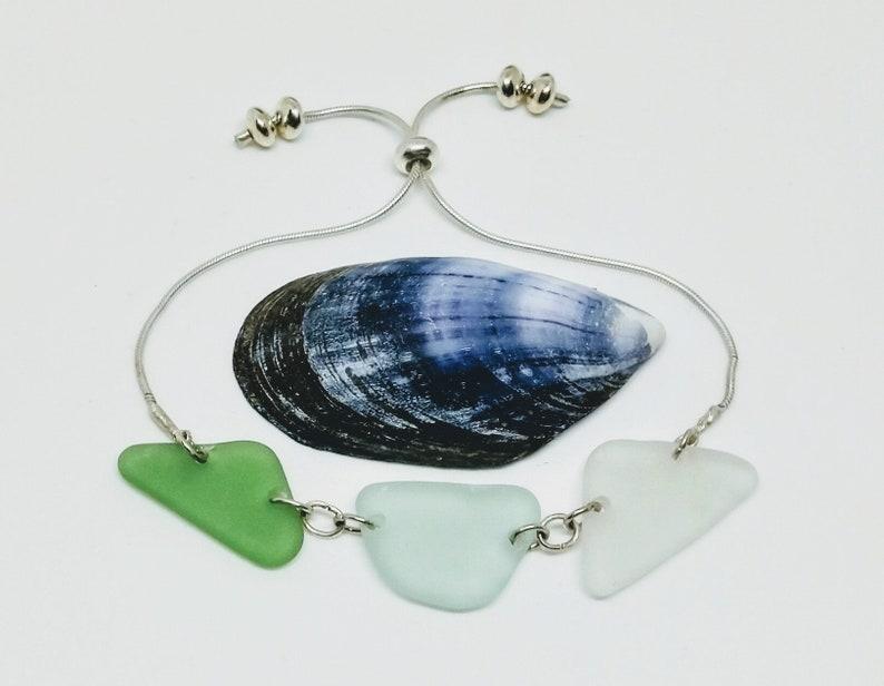 Shades of Green sea glass / sea foam sea glass/ frosty white image 0
