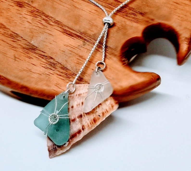 Real vivid turquoise sea glass necklace /  Caribbean green image 0