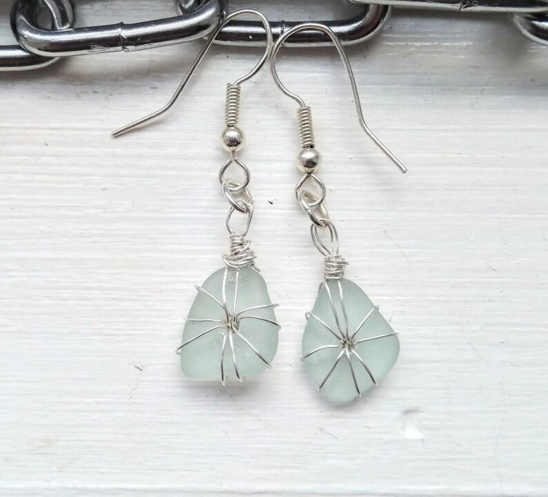 Sea foam sea glass earrings / sterling silver earrings / image 0