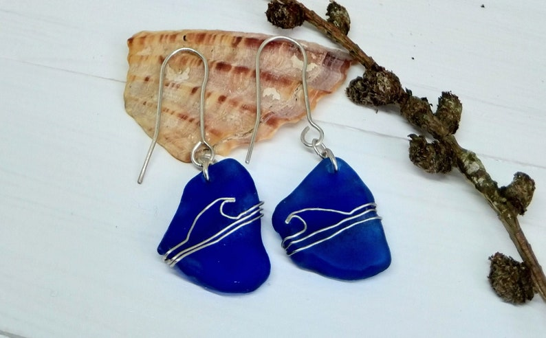 Cobalt blue sea glass earrings / blue earrings / fine silver image 0