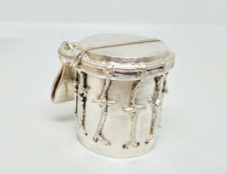 Garifuna drum / men's sterling silver pendant / men's image 0
